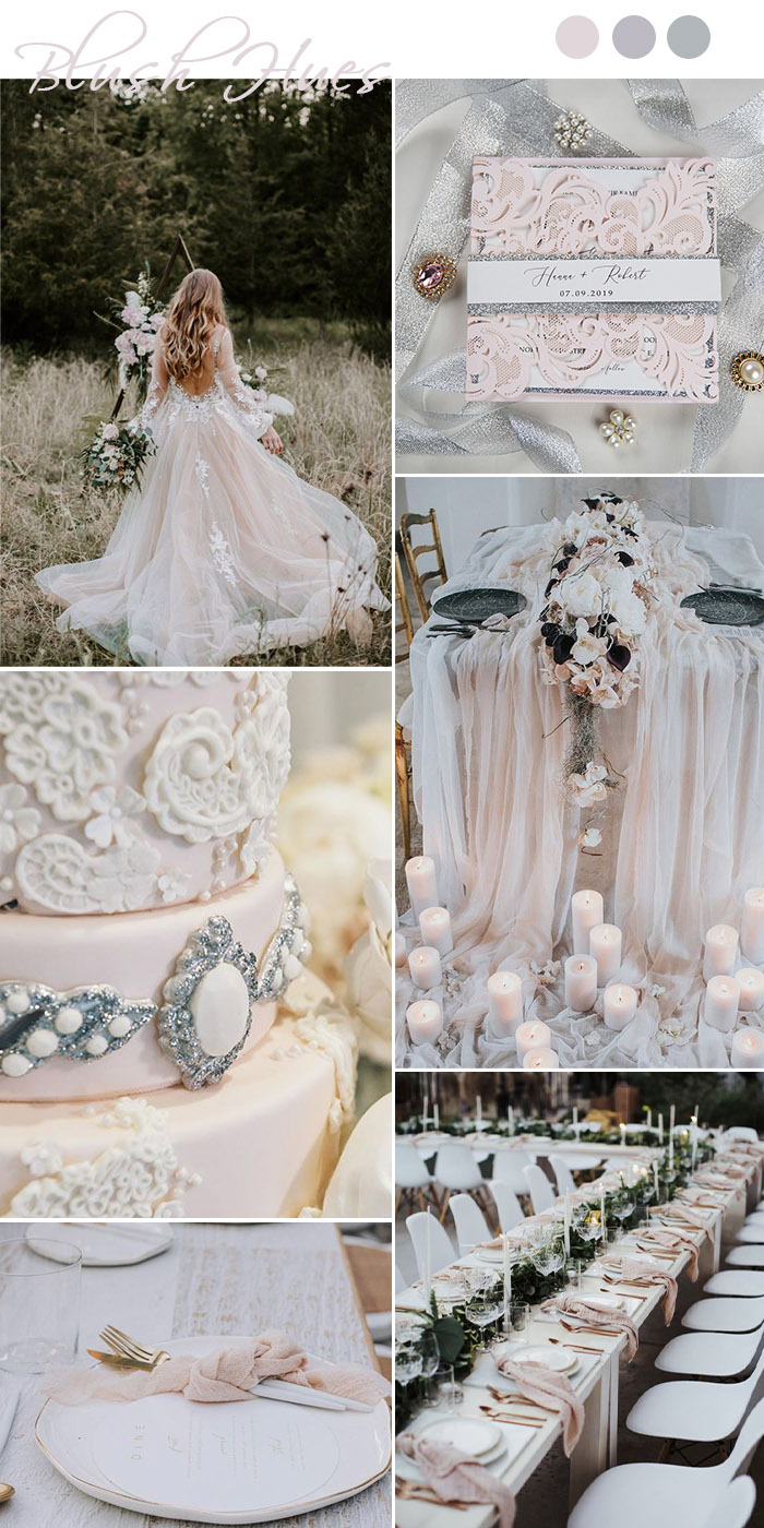 blush pink and silver fairytale moody wedding party ideas