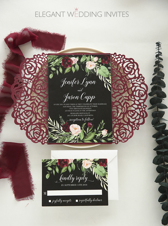 burgundy,blush and greenery laser cut wedding invites