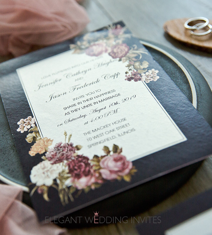 cheap dusty rose and black wedding invitation cards