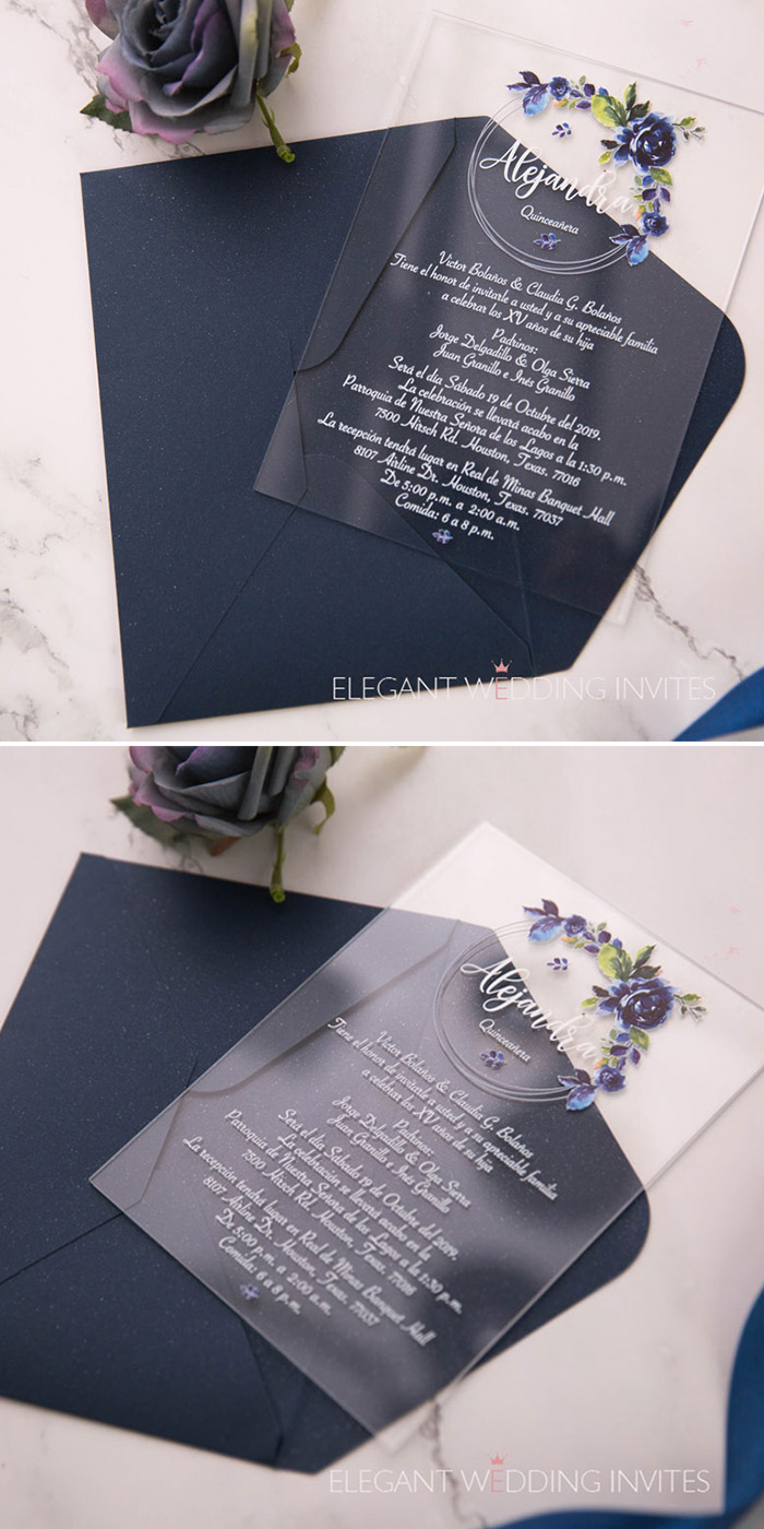 clear acrylic wedding invitation with blue floral prints
