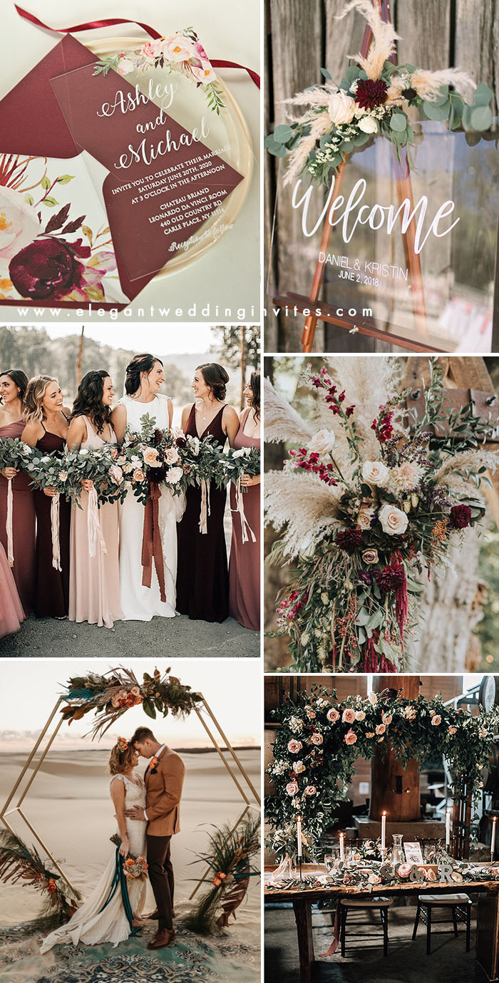 dark burgundy,terracotta and blush pampus grass elopement wedding inspiration