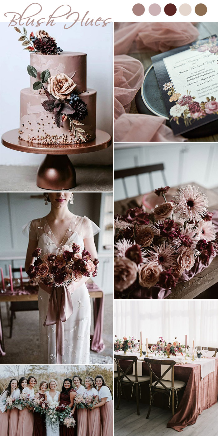 old time moody vintage dusty rose and burgundy wedding colors