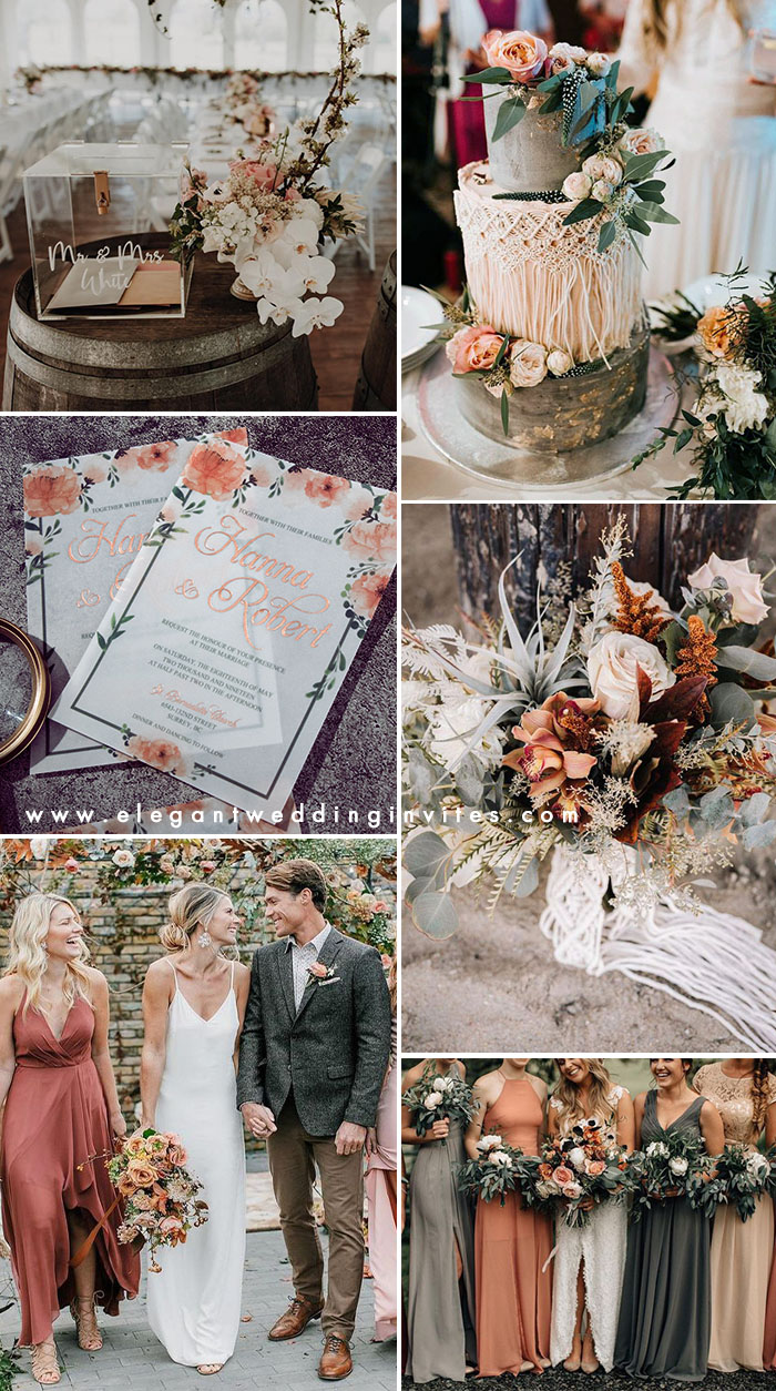 orange peach moody boho style fall wedding colors
