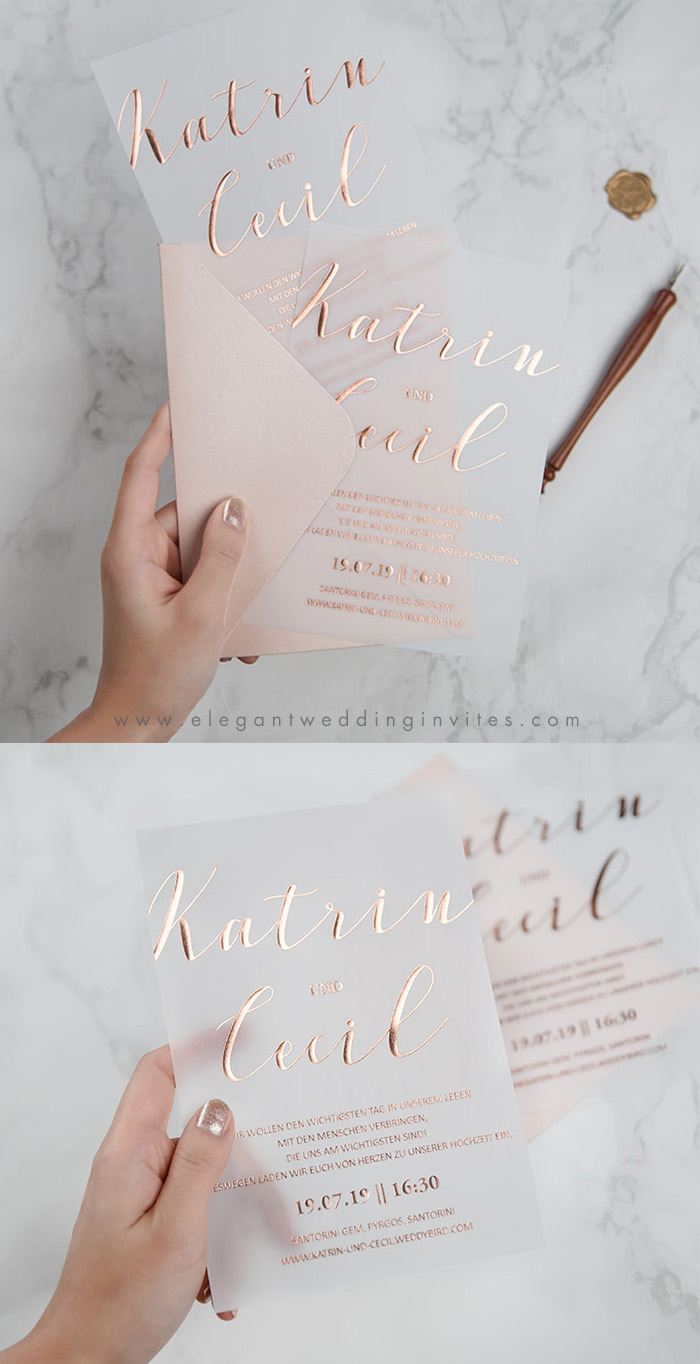 popular rose gold foil wedding invitation cards