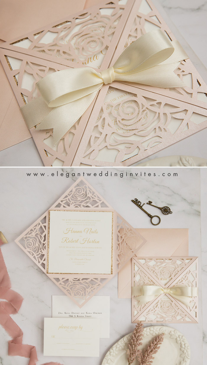 romantic blush and ivory laser cut wedding invites