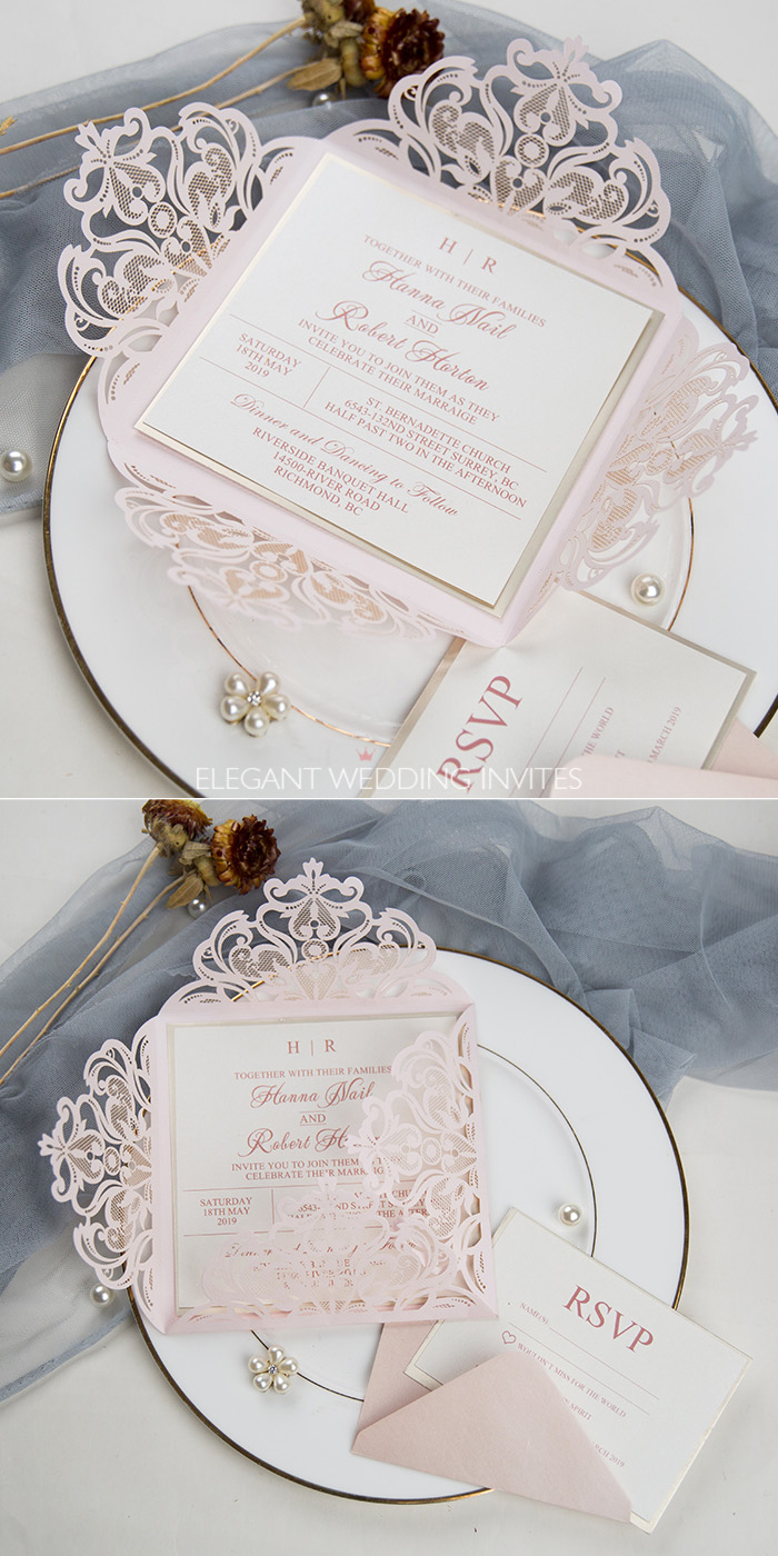 romantic blush laser cut wedding invitation with mirrored champagne gold backer