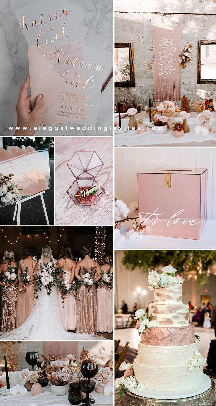 rose gold and neutral shades modern chic wedding color ideas
