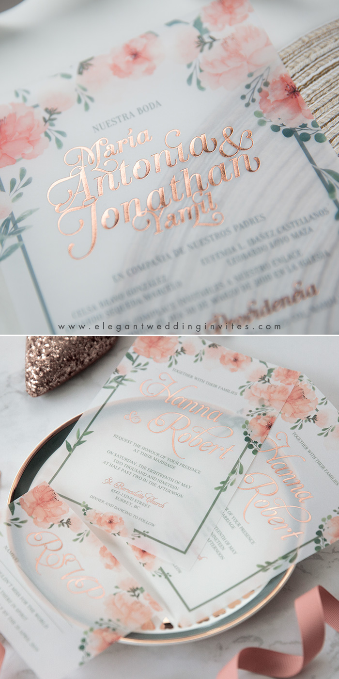 watercolor peach floral rose gold foil vellum paper invites