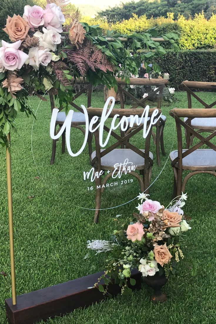 acrylic and floral wedding signage ideas