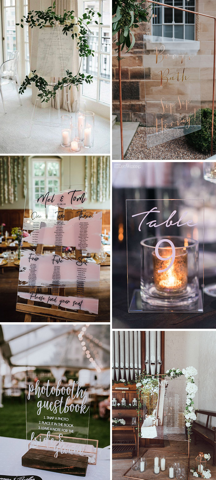 popular lucite and arylic modern wedding signs ideas