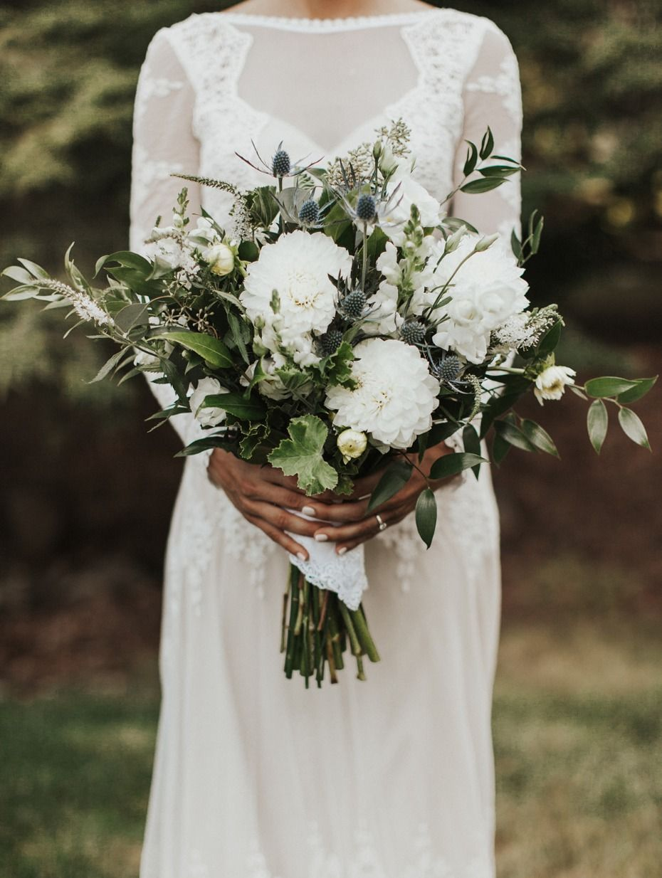 white and greenery boho bridal bouquets