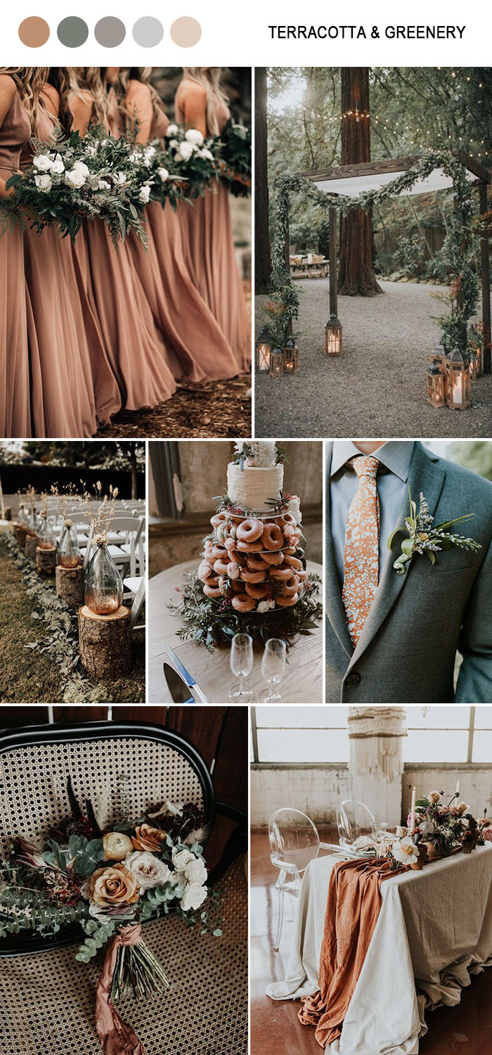 Terracotta and green chic forest fall wedding color ideas