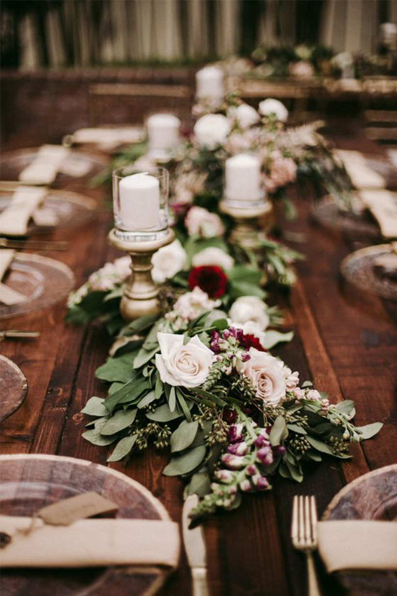 amazing burgundy floral and greenery garland wedding table ideas