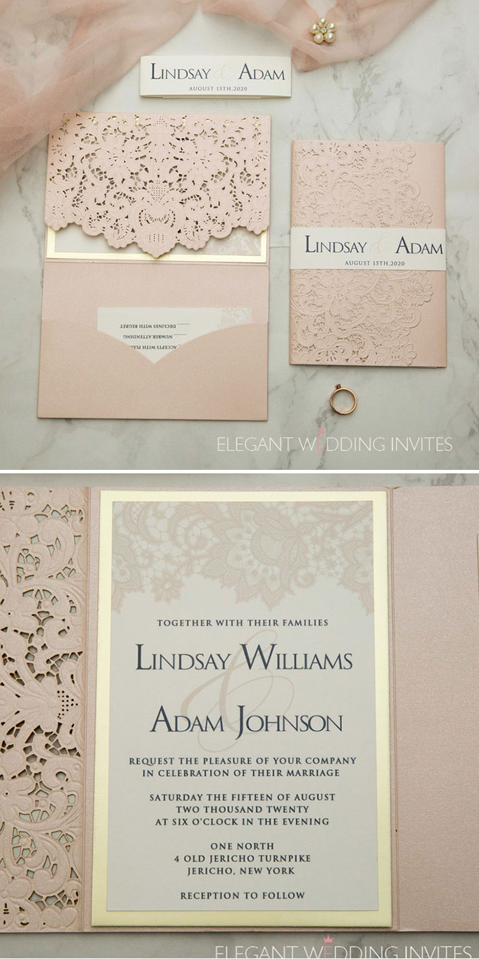blush and champagne blush and champagne laser cut pocket wedding invitations