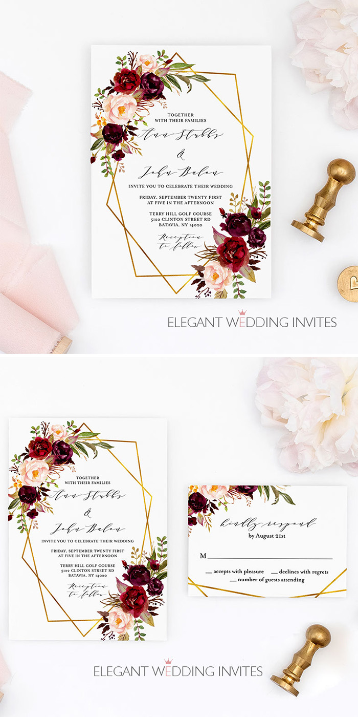 burgundy and blush floral wedding invitation with geometric pattern