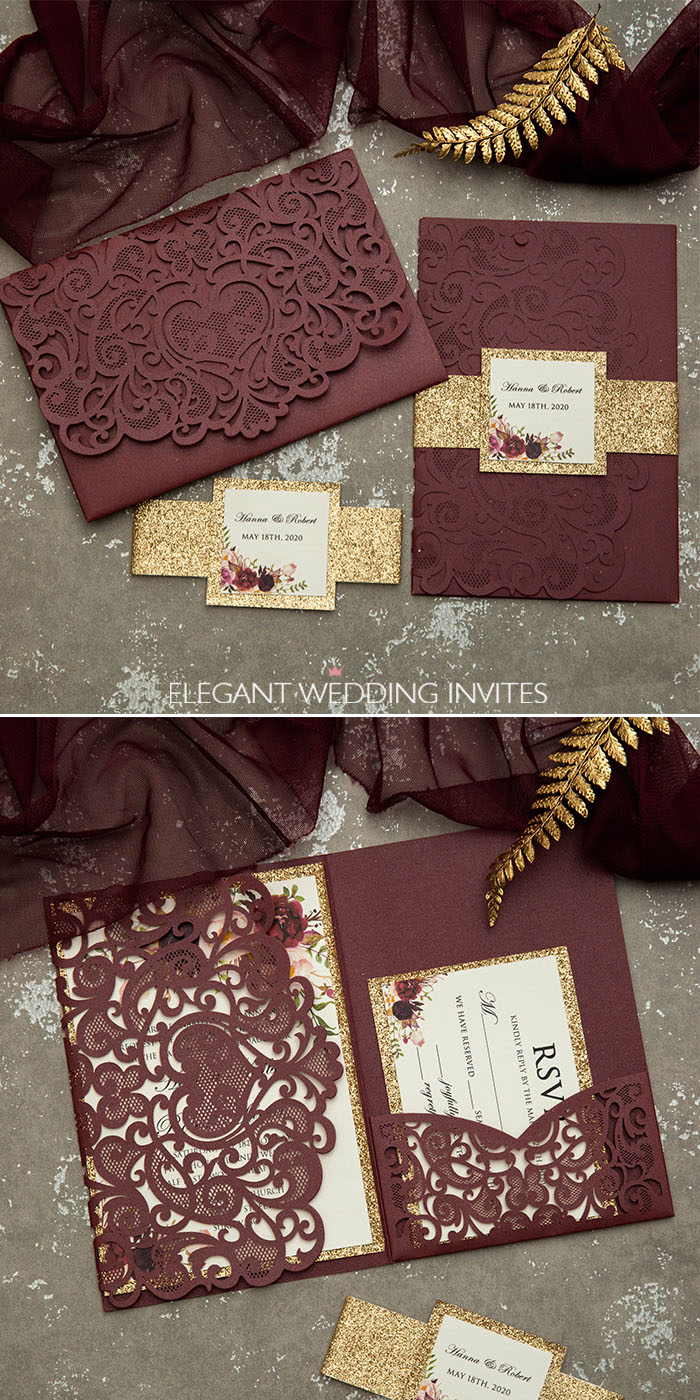 burgundy and rose gold glitter laser cut wedding invitations