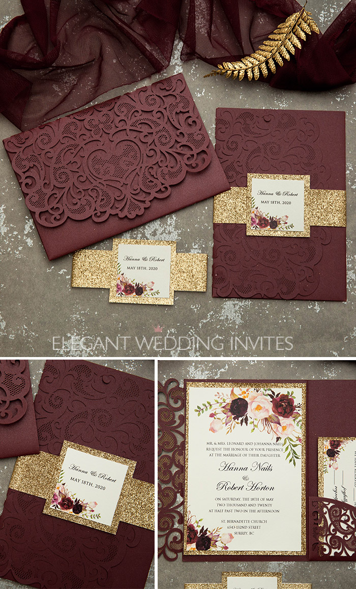 burgundy, blush floral and rose gold laser cut wedding invitations