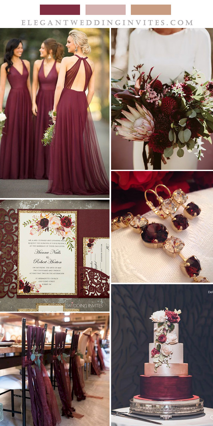 burgundy, blush floral and rose gold popular wedding colors