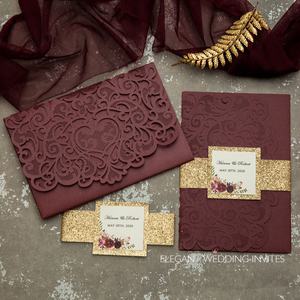 burgundy laser cut wedding invitations with ros gold belly band