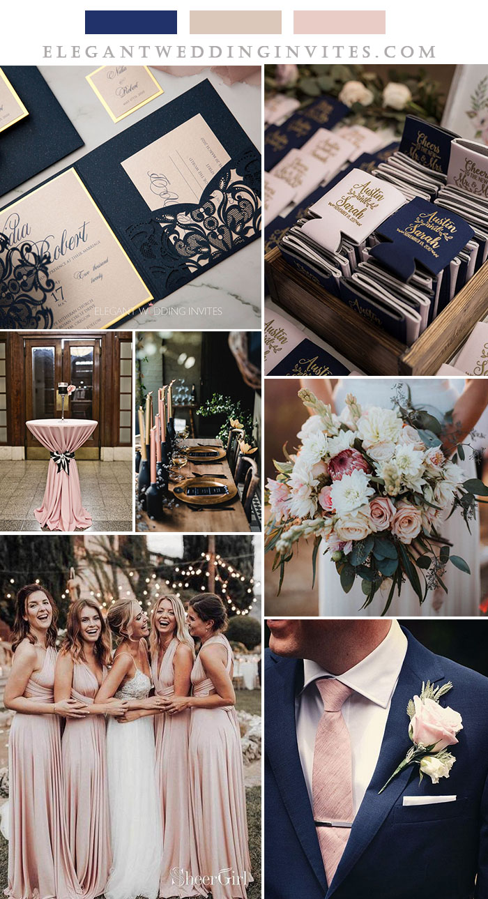 dark blue and blush pink fall wedding colors