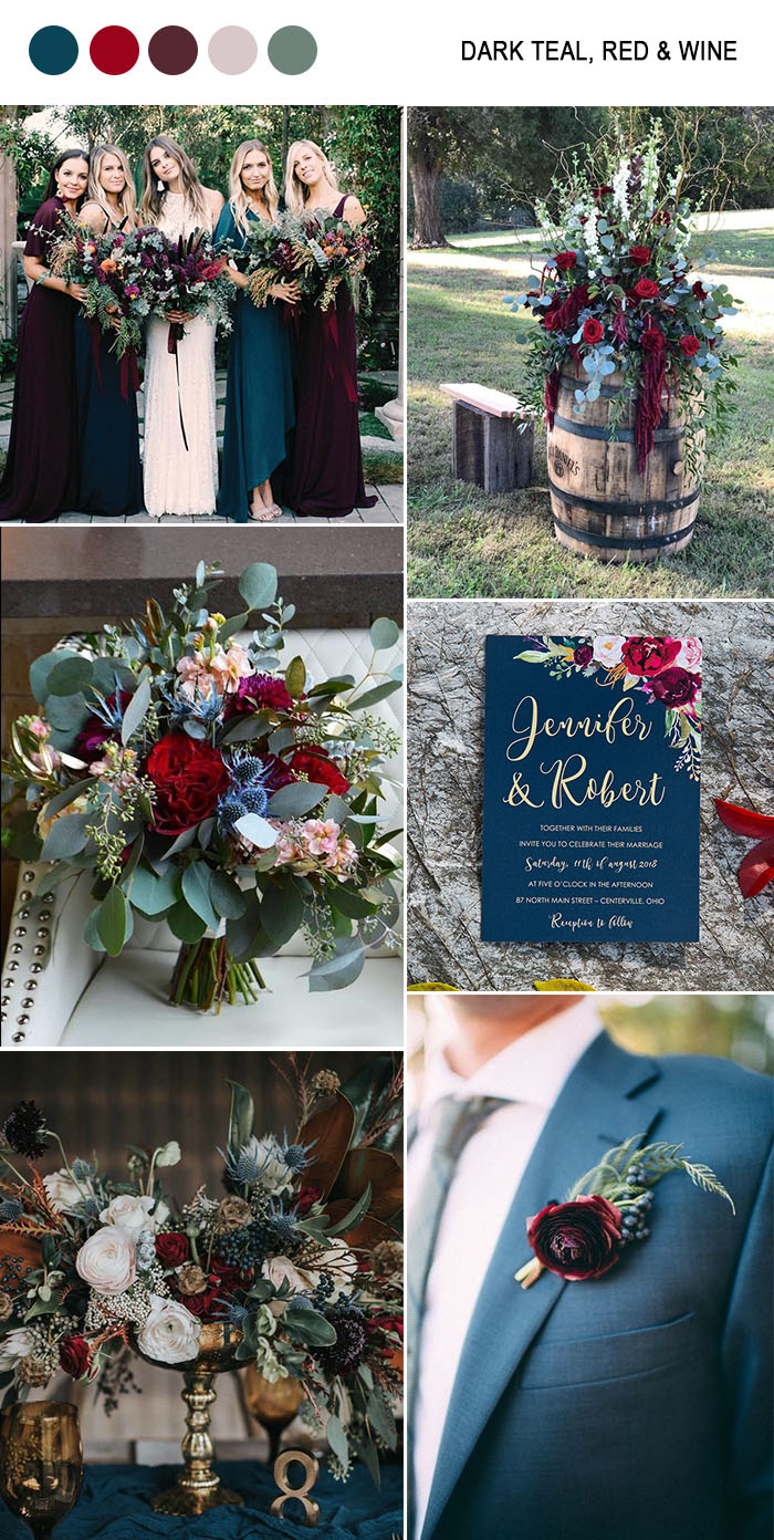 dark teal blue, wine and greenery moody fall wedding colors