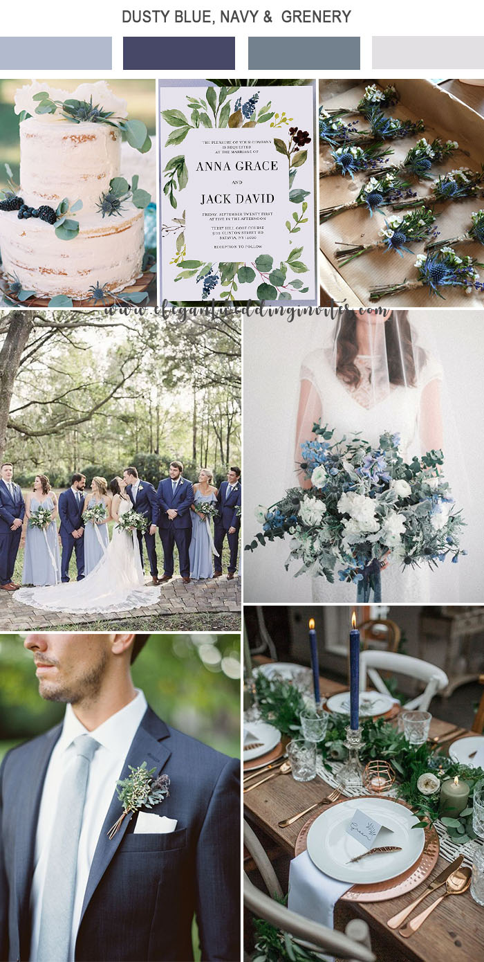 dusty blue,navy and greenery organic modern wedding colors