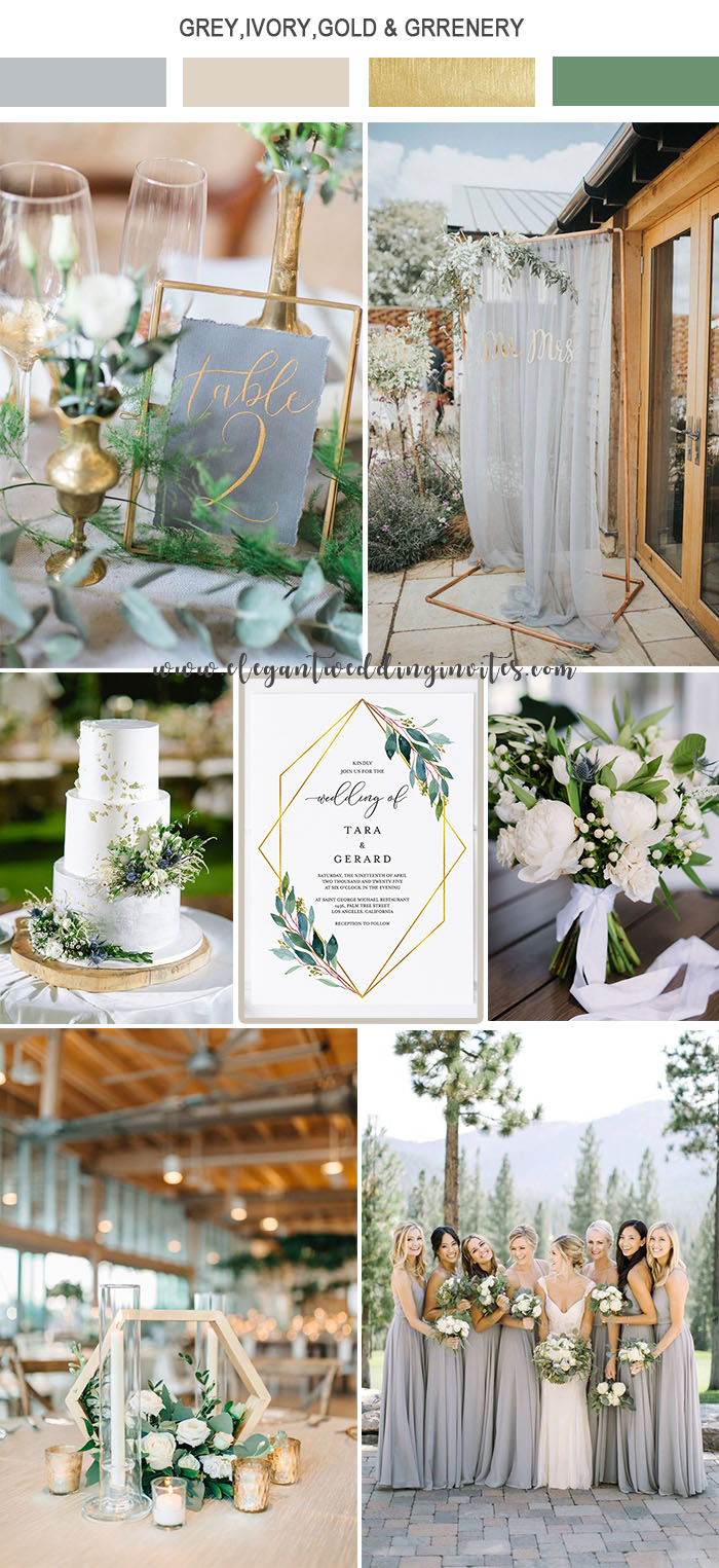 elegant light grey,ivory and gold garden wedding color ideas