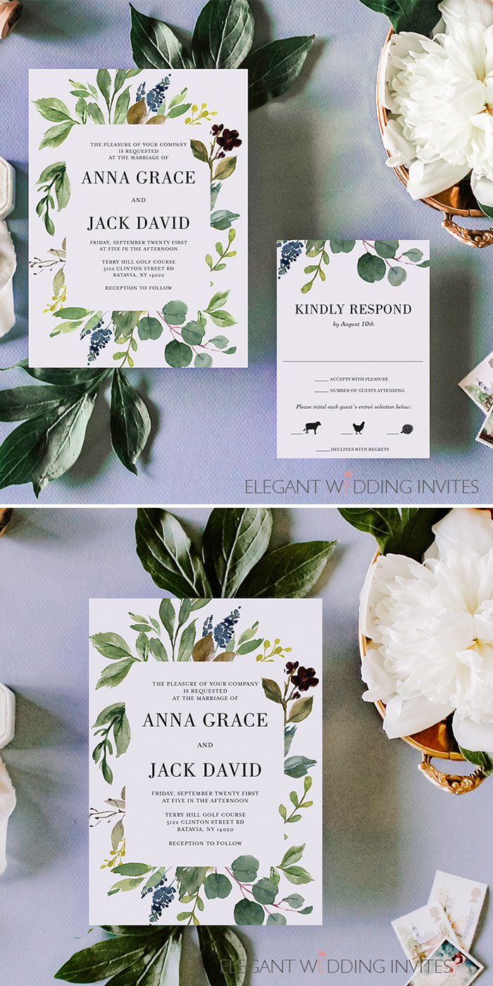 framed greenery leaves Winterwedding invitations