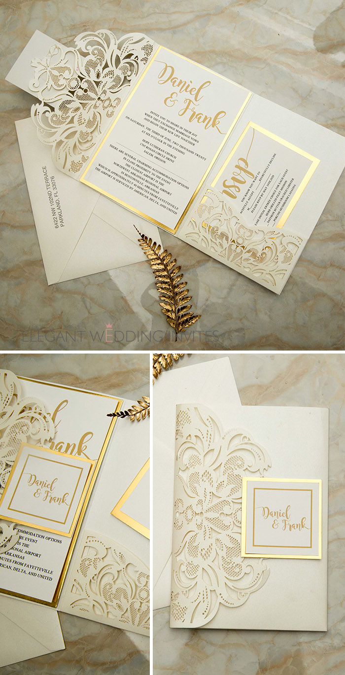 ivory and mirrored champagne laser cut wedding invitations