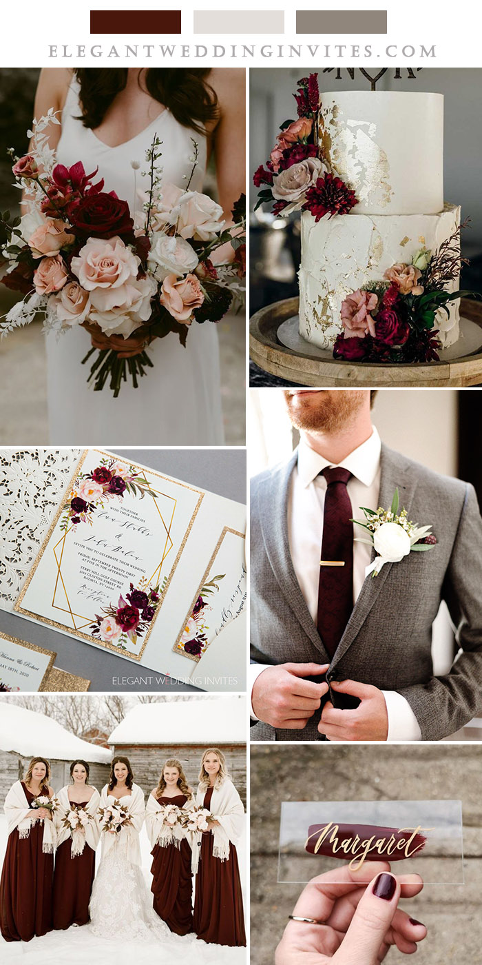 mahogany red,ivory and grey fall and winter wedding color inspiration