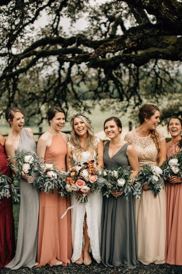 mismached colored fall earthy tone bridesmaid dresses