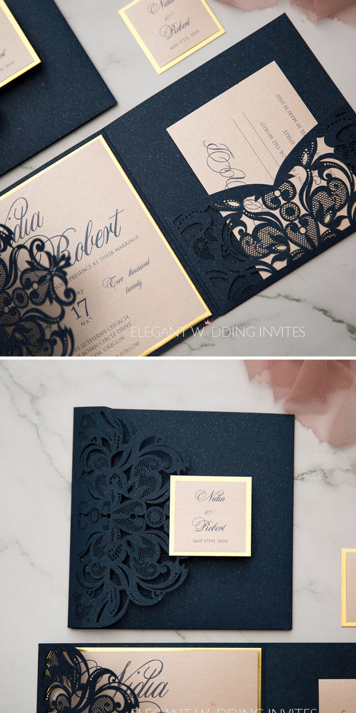 navy sparkly laser cut pocket fold with modern blush invitation and mirrored backer