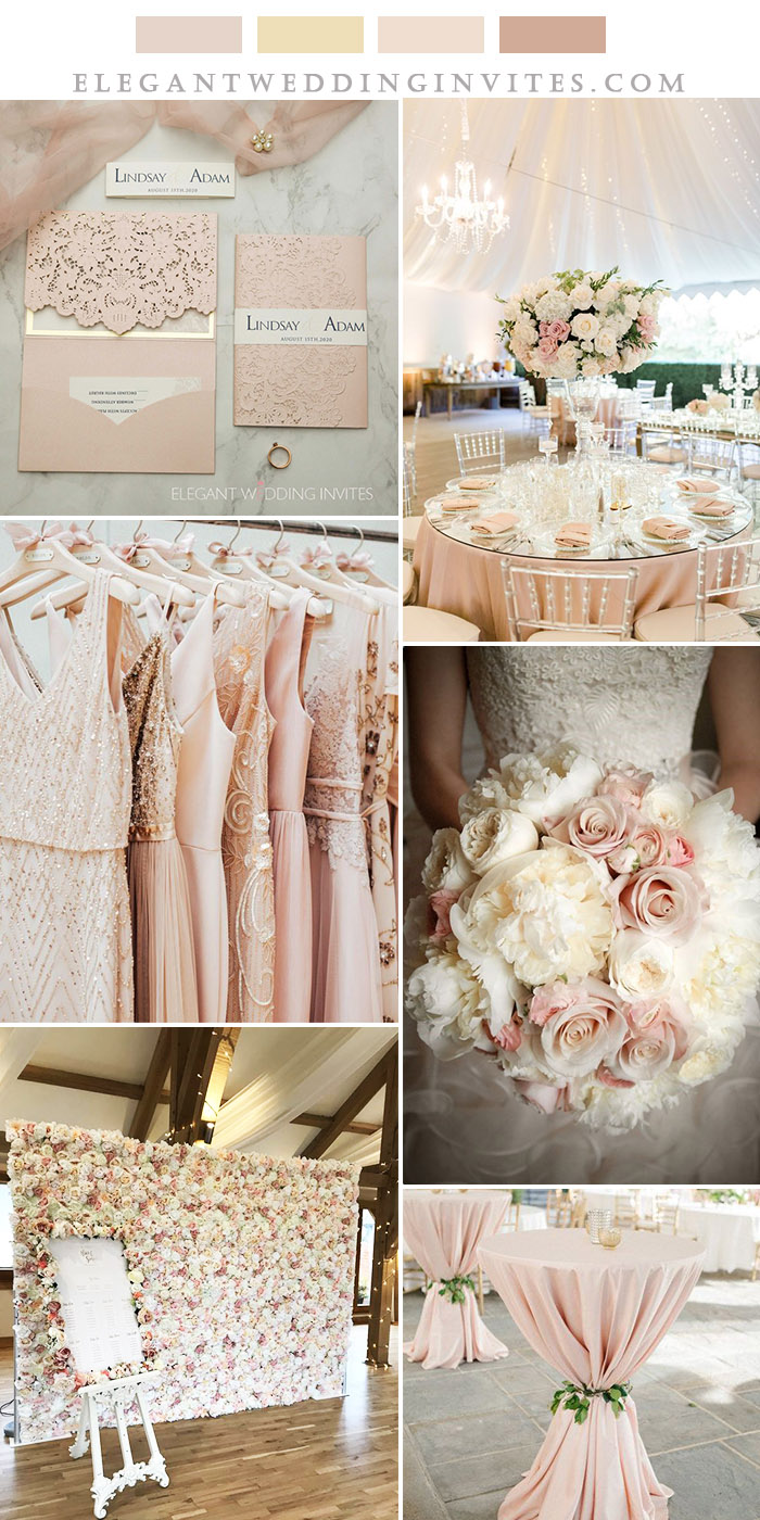 romantic and elegant blush pink and champagne wedding colors