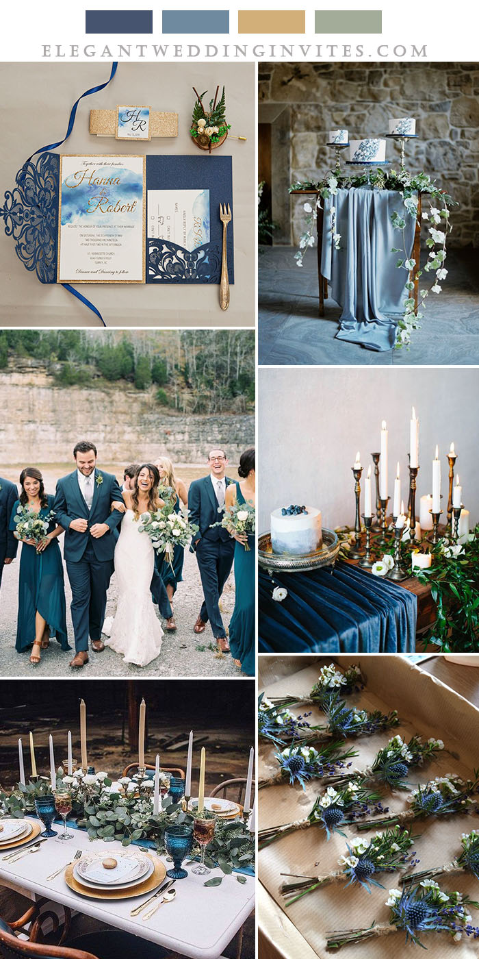 shades of blue and greenery wedding colors