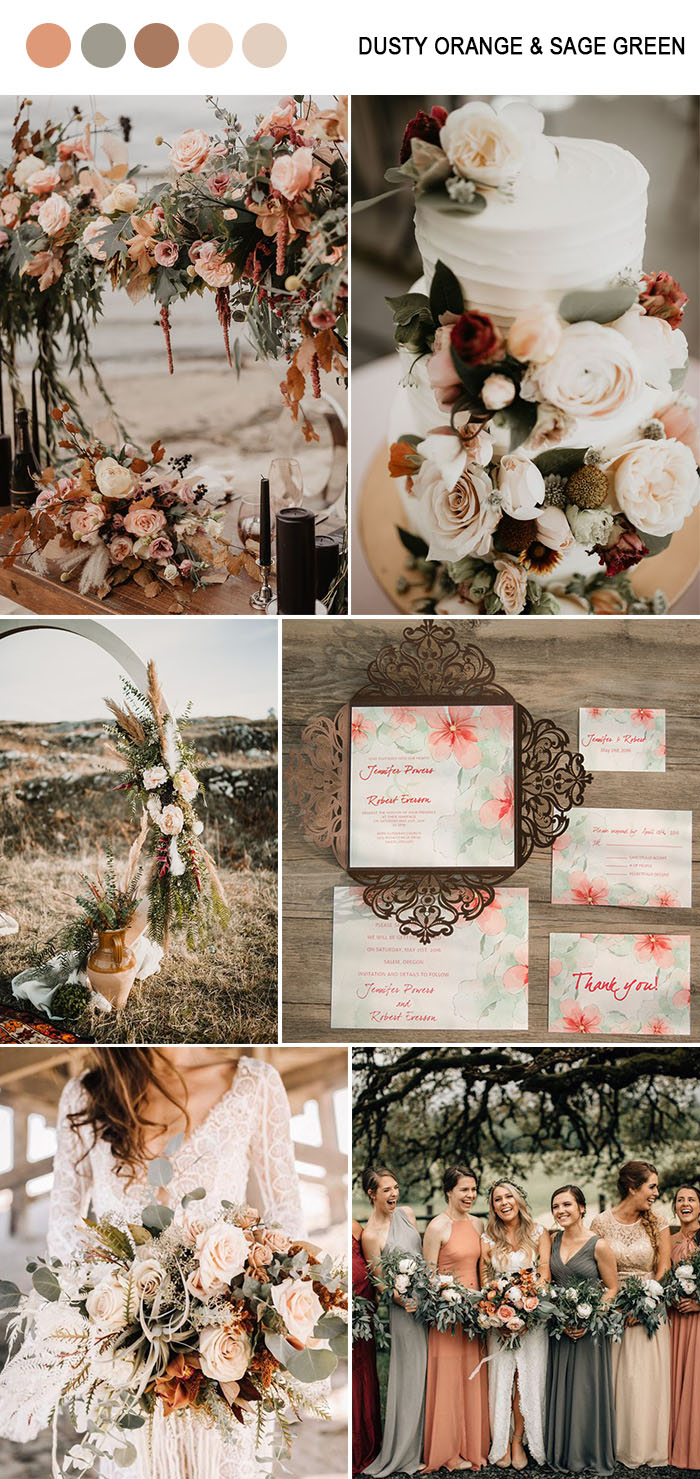 trendy dusty orange and sage green fall wedding color inspiration for 2019