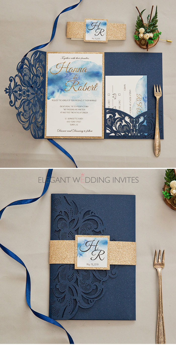 water color navy and blue laser cut wedding invitation with glitter gold accents
