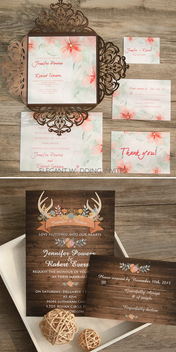 wooden color boho style fall wedding invitations