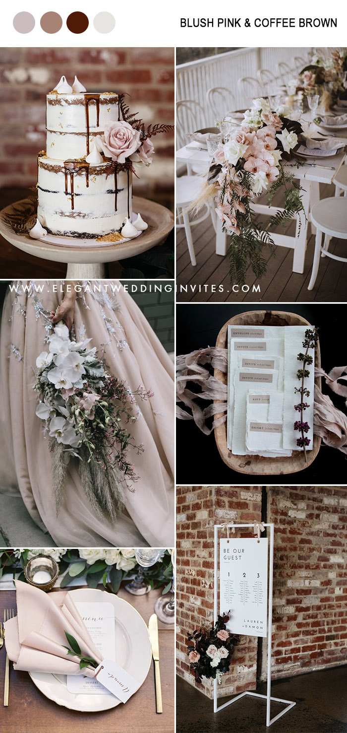 blush and coffee brown neutral fall wedding colors