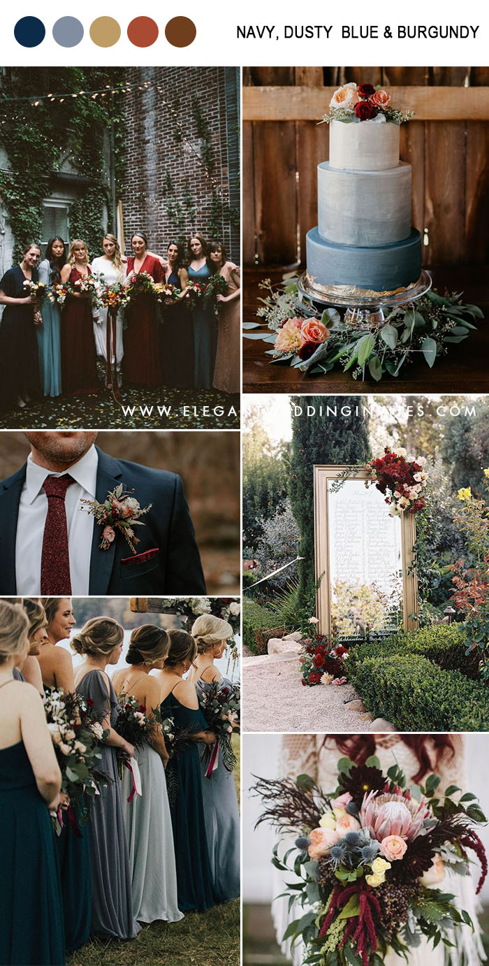 chic moody dark navy, dusty blue, burgundy and peach fall wedding colors