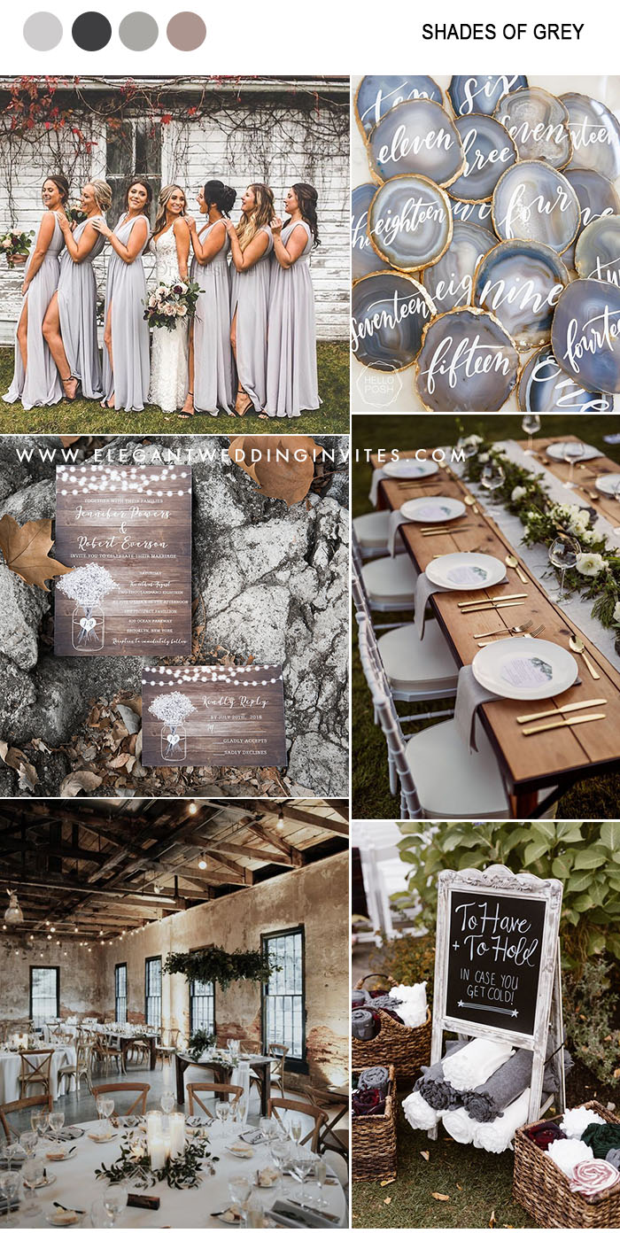 chic rustic shades of grey and metallic gold wedding color inspiration for fall and winter