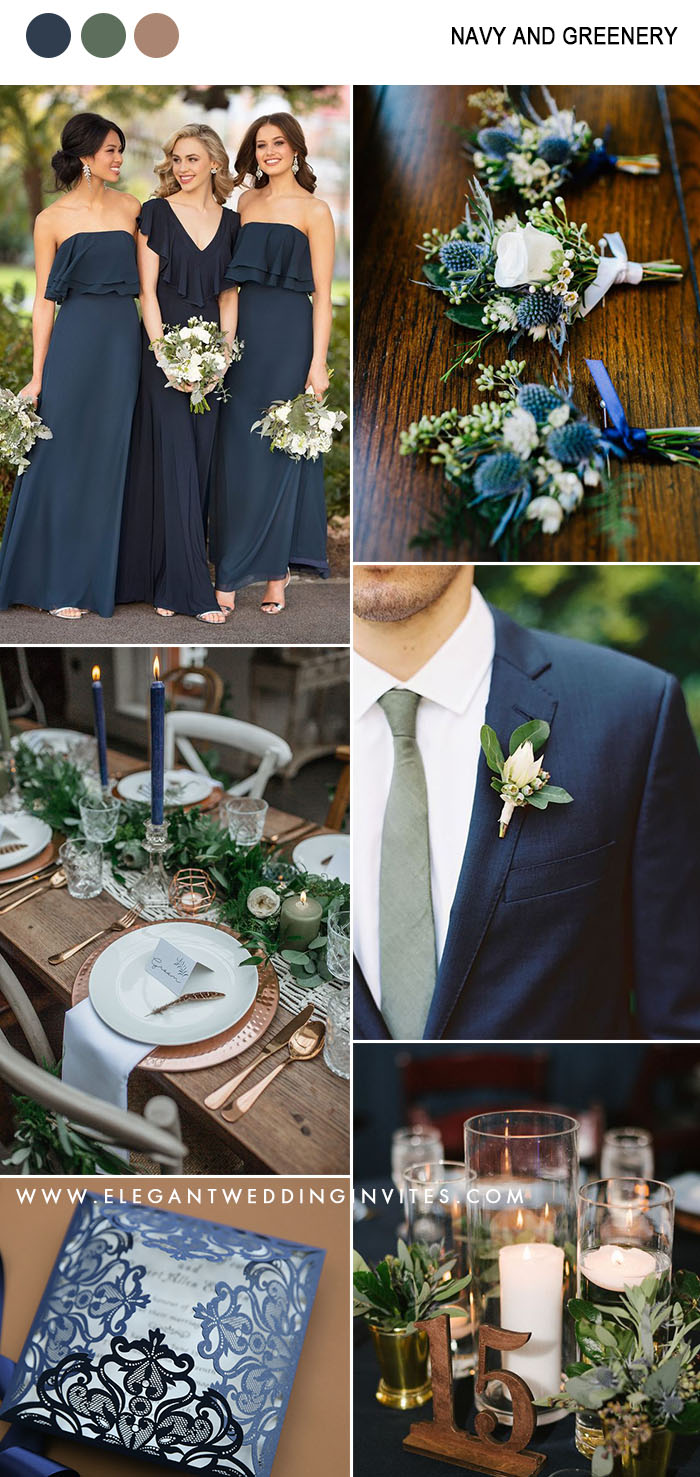 dark navy and greenery organic wedding colors for fall and winter