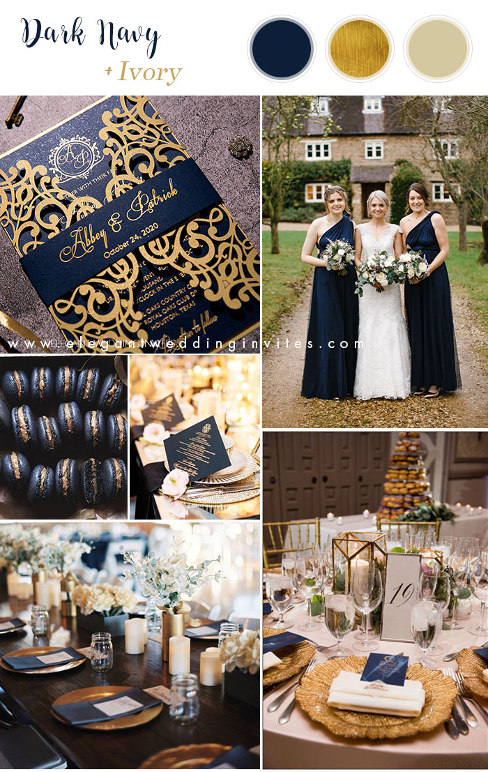 dark navy blue and gold classic wedding colors