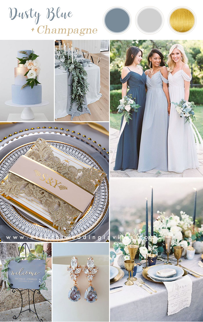 elegant dusty blue and champagne gold wedding colors ideas
