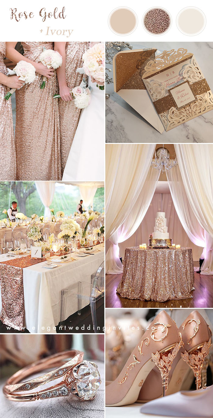 rose gold and ivory classic wedding colors