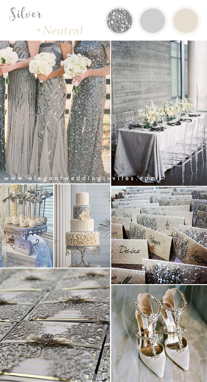 silver neutral winter wedding colors with matching invitations