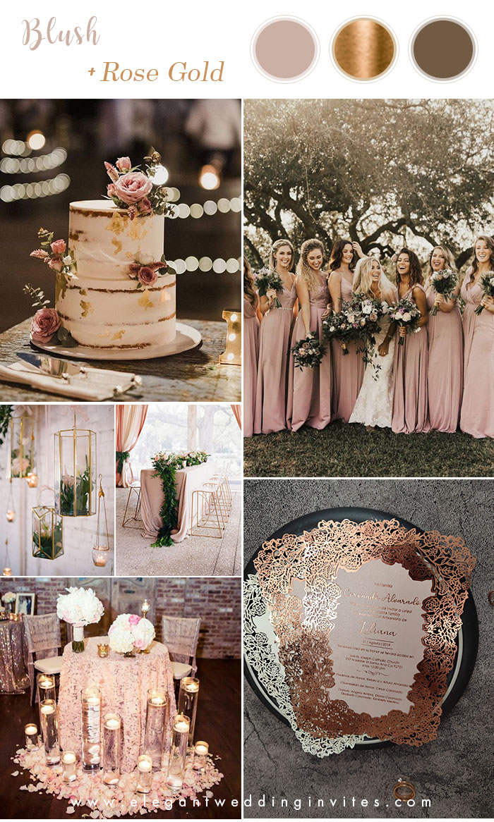 stunning blush pink and rose gold wedding color palette