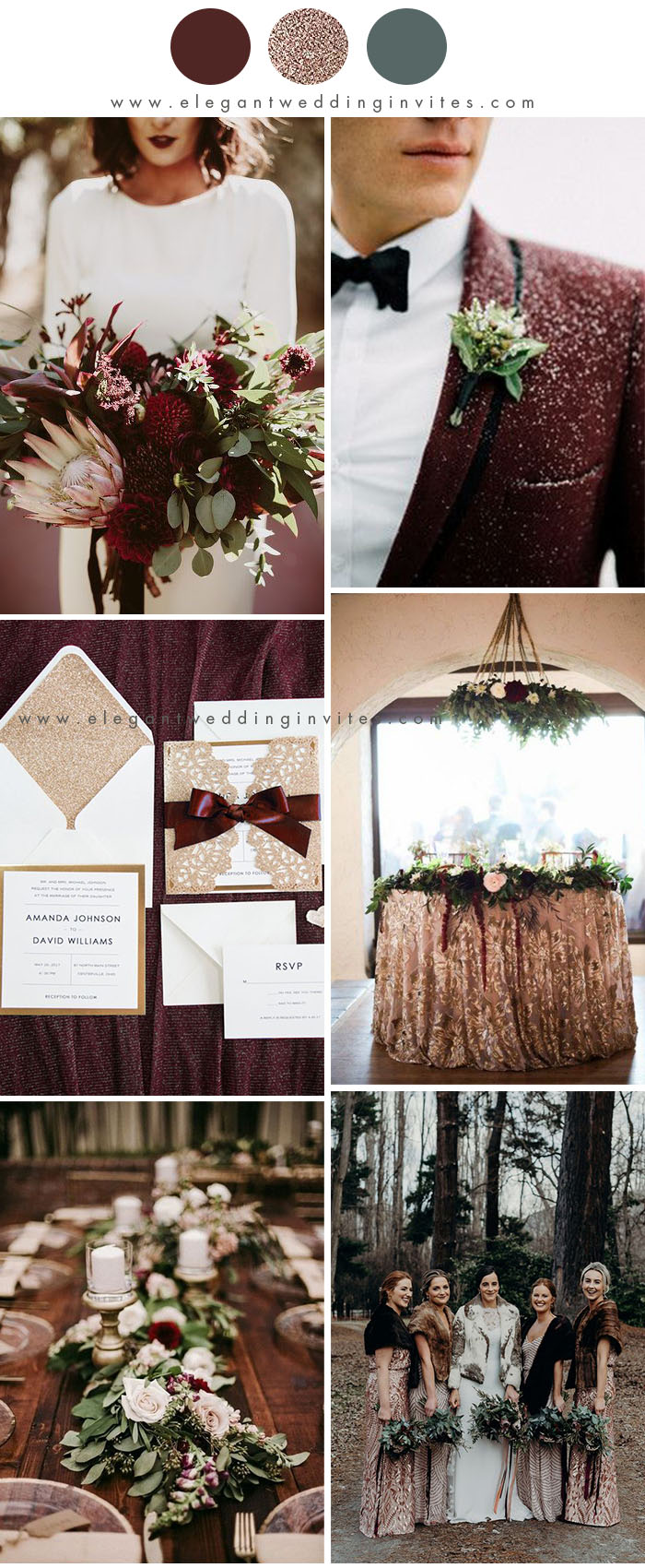chic dusty rose and dark wine winter wedding color ideas