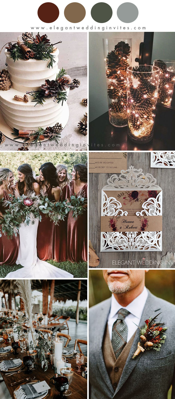 cozy chocolate brown and dark red rustic chic winter wedding colors