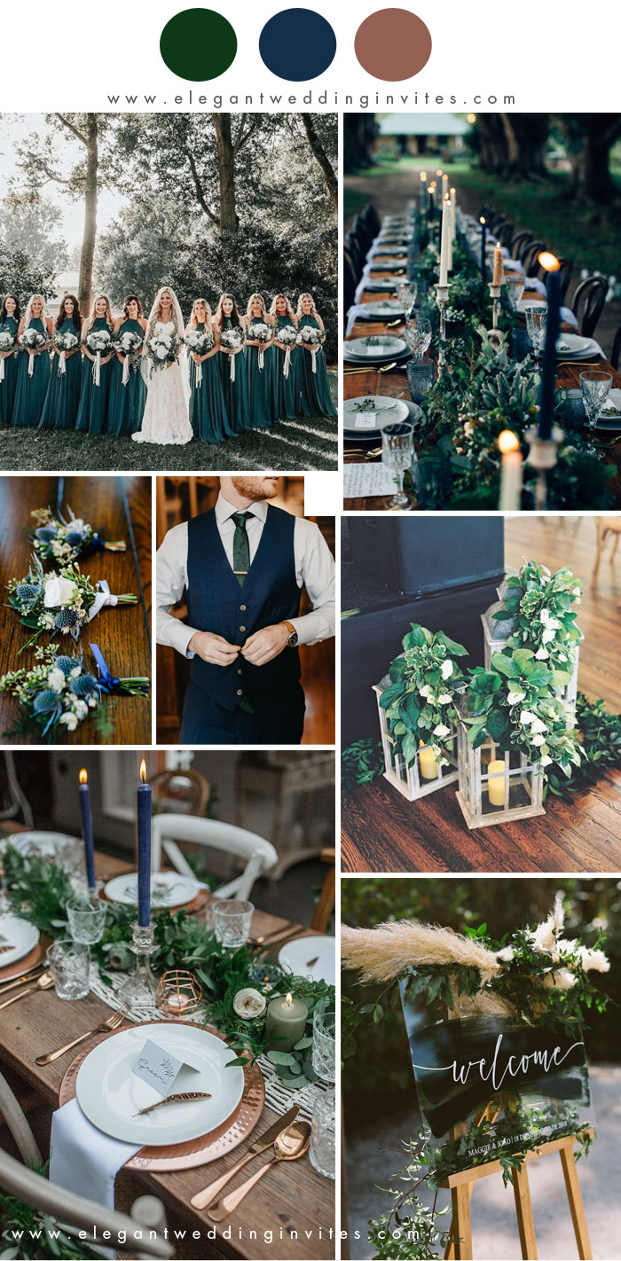 dark moody navy and forest green rustic chic winter wedding colors
