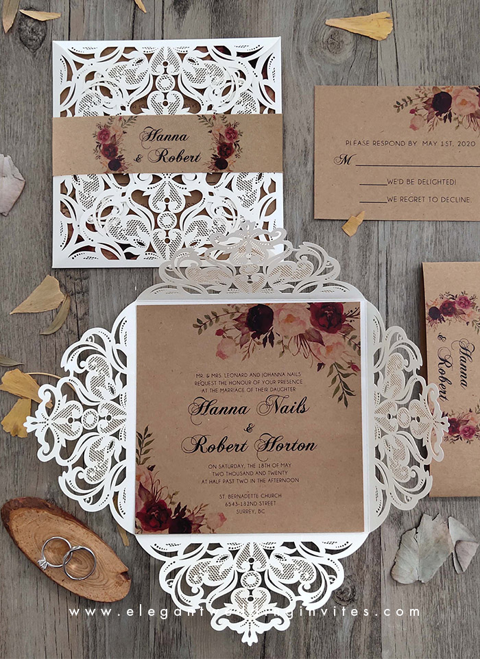 dark red floral patterned ivory laser cut rustic wedding invitation